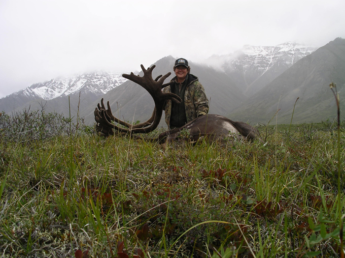 Patricia Treiber with her trophy caribou