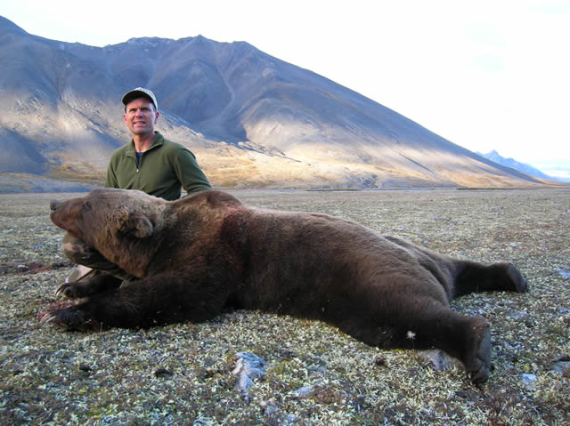 Scott Marshall with his artic grizzly bear